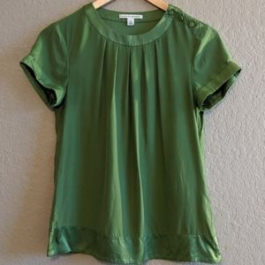 Banana Republic Green Silk Blouse Crew Neck XS